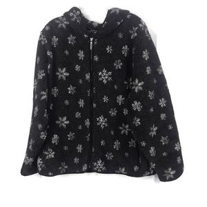 EDDIE BAUER XL GREY FLEECE WITH WHITE SNOWFLAKES